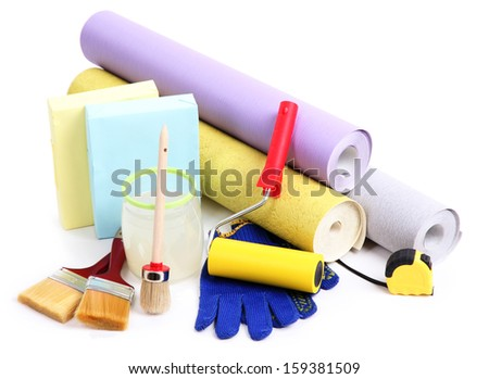 Wallpaper and accessories for glue wallpaper, isolated on white  - stock photo