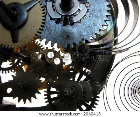 Wallpaper, background-mechanism with cog-wheels, springs and screws