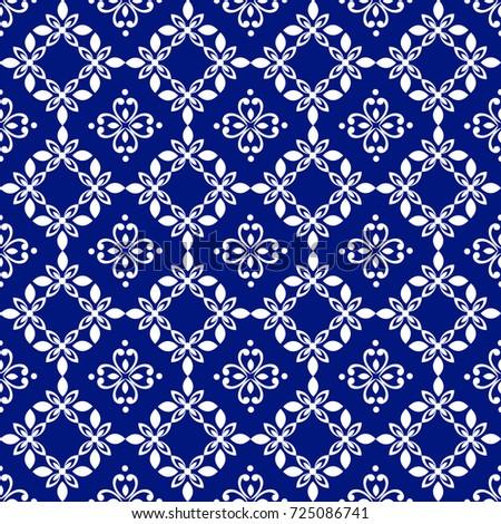 Wallpaper Baroque Damask White And Blue Floral Pattern Vintage Ornament Background For