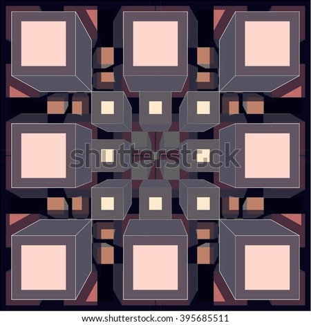 Wallpaper - cubic fractal -pink and grey - stock photo