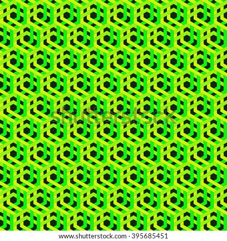 Wallpaper - cubic pattern - green - stock photo