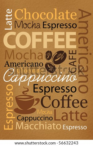 Wallpaper for decorate coffee or coffee shop. Words and pictures on a brown background - stock photo