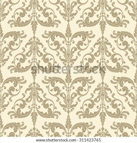 Wallpaper in baroque style. Classic beige ornament. Damask pattern.Seamless background.
