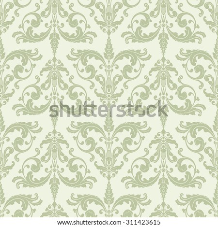 Wallpaper in baroque style. Classic ornament. Damask pattern.Seamless background.