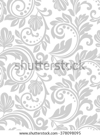 Wallpaper in the style of Baroque. A seamless background. Gray and white texture. Floral ornament.