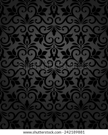 Wallpaper in the style of Baroque. Black texture. Floral ornament.