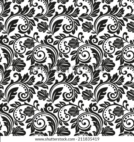 Wallpaper in the style of Baroque. Floral pattern. A seamless black and white background. - stock photo
