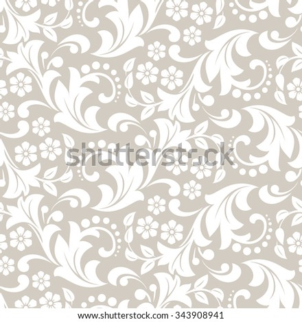 Wallpaper in the style of Baroque. Seamless  background. Damask floral pattern.