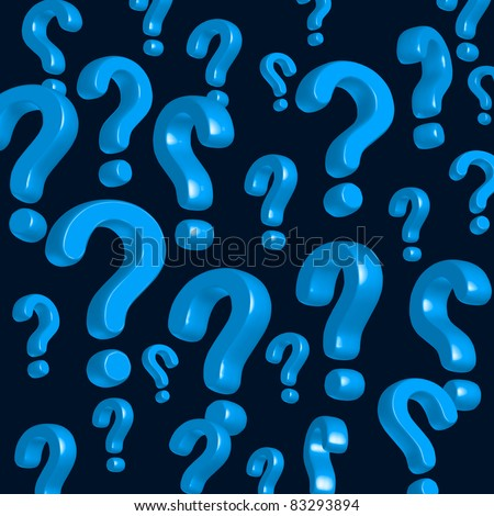 wallpaper of blue question marks - stock photo