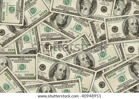 wallpaper of 100 dollar bills randomly placed. high resolution. - stock photo