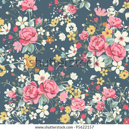 wallpaper vintage rose pattern on navy background - stock photo