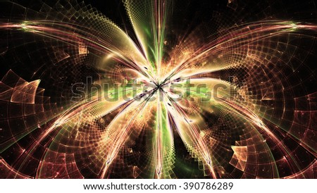 Wallpaper with a large abstract space flower in the center and decorative geometric pattern, all in bright sepia tinted red,green,yellow