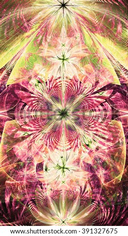 Wallpaper with a large abstract space flower surrounded by vortex like petals and decorative waves, all in high resolution and bright vivid sepia tinted pink,green,yellow - stock photo