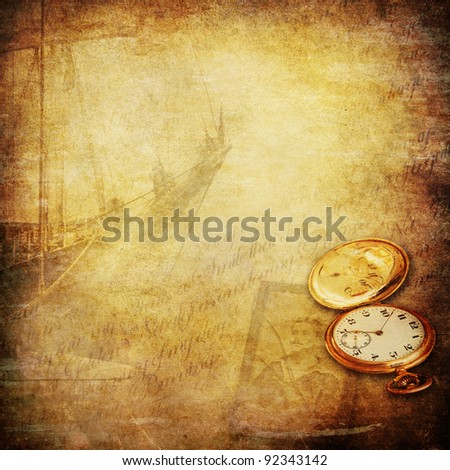 wallpaper with sailing ship, a pocket watch, an old photo of a seaman and a open book - stock photo