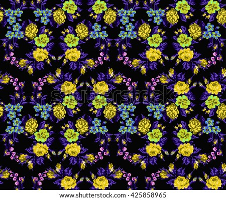 Wallpapers or textile. Color circle  bouquet of flowers (roses, chamomile and cornflowers) on the black background using Ukrainian embroidery elements.Yellow, blue, violet  tones. Seamless. Pixel-art. - stock photo