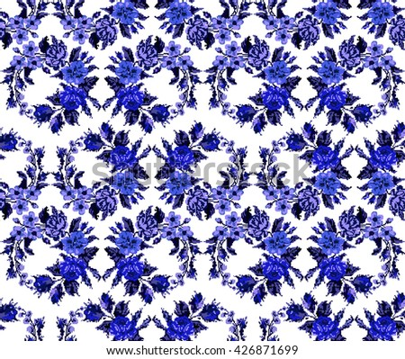 Wallpapers or textile. Monochromatic blue  circle  bouquet of flowers (roses, chamomile and cornflowers) using traditional Ukrainian embroidery elements. Seamless. Pattern. Can be used as pixel-art. - stock photo