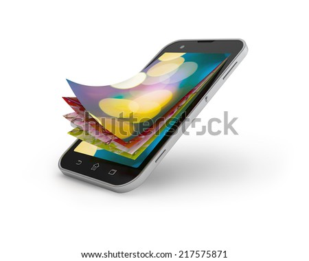 Wallpappers pictures set for touchscreen smartphone. - stock photo