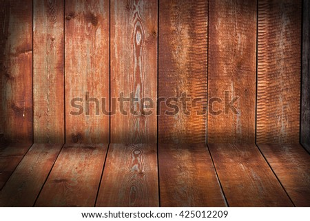 walls and floor made of wooden planks . background. texture