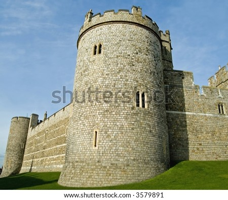 Walls and ramparts of Windsor Castle, Windsor, England.