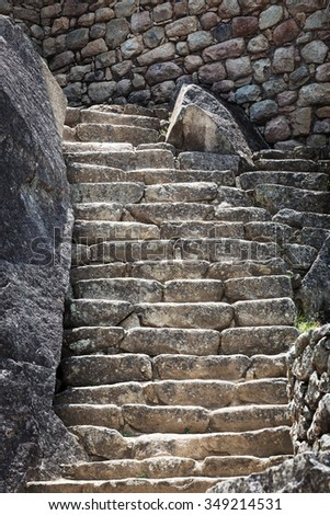 walls and stairs in Machu Picchu - stock photo