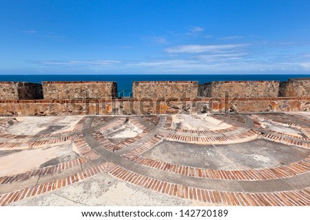 Walls at Fort San Felipe del Morro, San Juan, Puerto Rico - stock photo