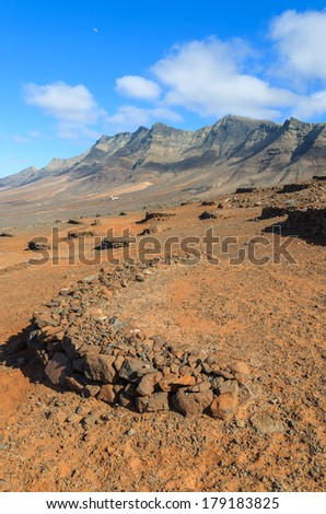 Walls built of lava stones protect wine plants from wind on sunny slopes of mountains near Cofete beach, Fuerteventura, Canary Islands, Spain