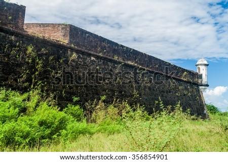 Walls of a fortress of Sao Jose de Macapa in city Macapa, Brazil - stock photo