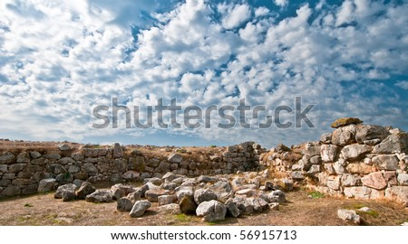 Walls of ancient Mycenaean city of Tyrins, Greece - stock photo
