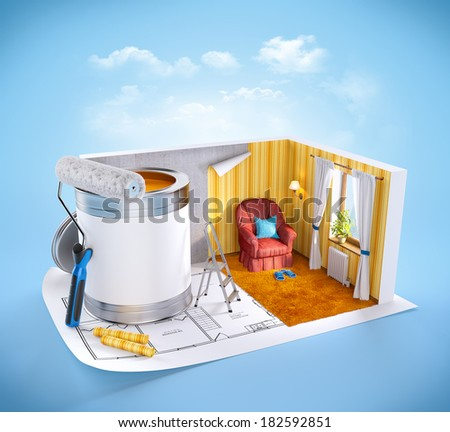 Walls of apartment on a plan. Interior design concept - stock photo