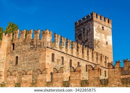 Walls of Castelvecchio fortress in Verona - Italy - stock photo