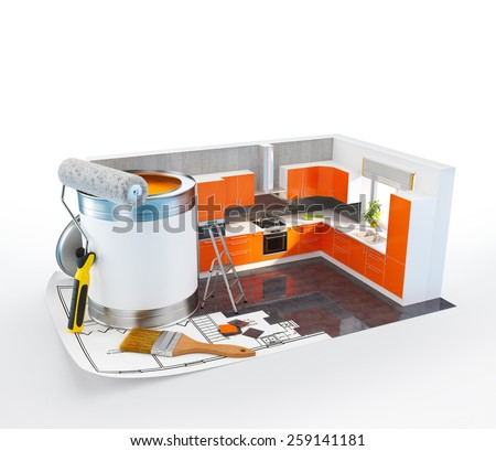 Walls of modern kitchen on a plan. Unusual Interior design concept. 3D - stock photo