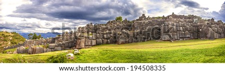 Walls of Sacsayhuaman Fortress, in Cusco, Peru - stock photo