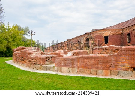 Walls of the Brest Fortress, Brest, Belarus. It is one of the Soviet World War II war monuments commemorating the Soviet resistance against the German invasion on June 22, 1941 - stock photo