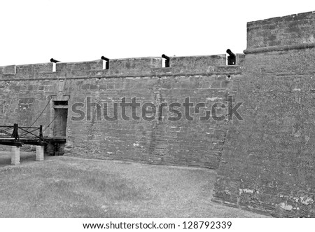 Walls of the Castillo San Marcos Fort in St. Augustine, FL, on an overcast day. Black & White. - stock photo