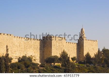 Walls of the Jerusalem city - stock photo