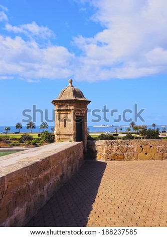 Walls of the old town in Palma de Mallorca, Balearic Islands, Spain