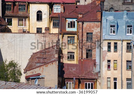 Walls, roofs and windows of city houses