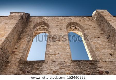 Walls with Gothic windows of ancient ruined St. Brigitta convent. Pirita region, Tallinn, Estonia - stock photo