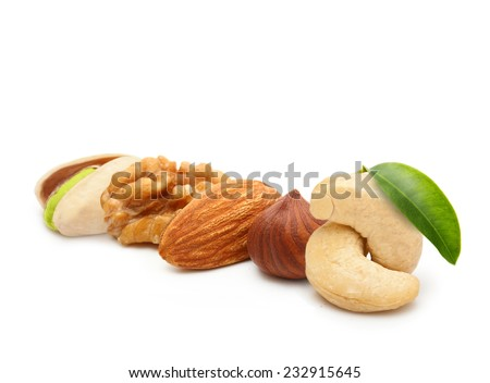 Walnut, almond, pistachio, cashew nut, and hazelnut isolated on white background. - stock photo
