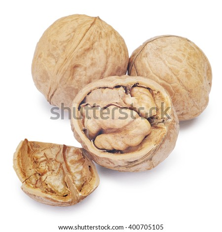 Walnut and a cracked walnut isolated on the white background. Clipping Path