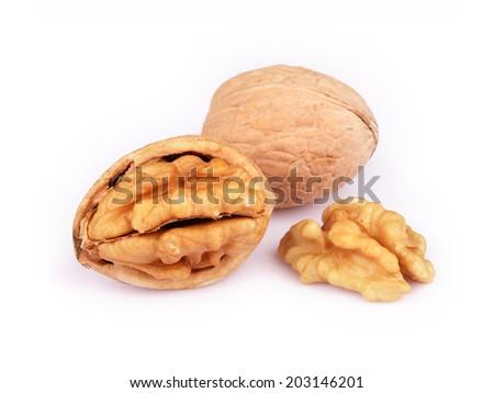 Walnut and Cracked Walnut isolated on white background - stock photo