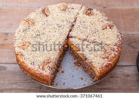 Walnut and Plum Jam Cake - stock photo