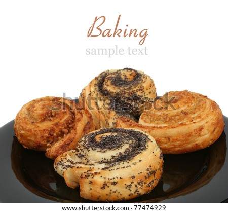 Walnut and poppy pastry with isolated background