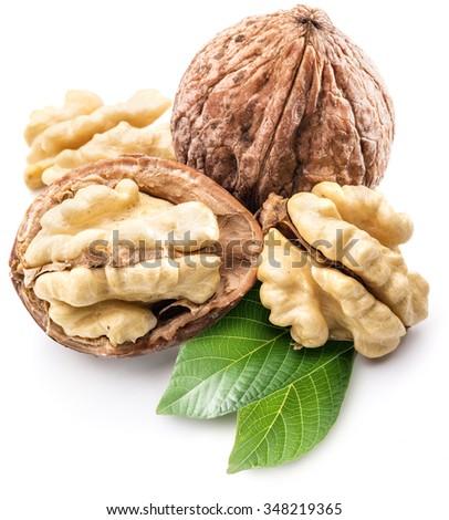Walnut and walnut kernel isolated on the white background. - stock photo