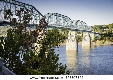 Walnut Bridge in Chattanooga with Clear Sky.