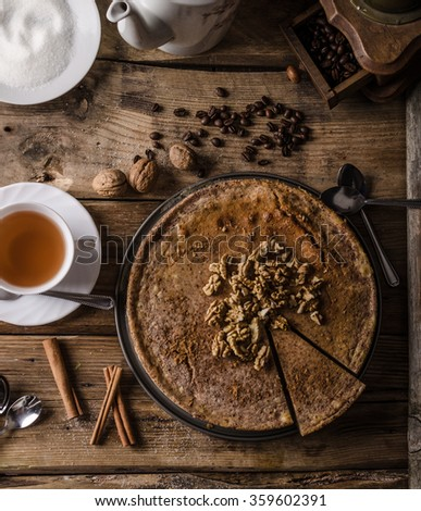 Walnut cheesecake with cinnamon, delicious cheesecake - stock photo