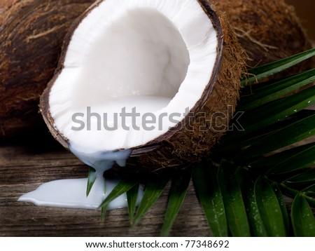 walnut coconut milk - stock photo