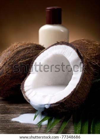 walnut coconut milk with bath cream - stock photo