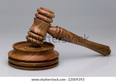 Walnut gavel and block - stock photo
