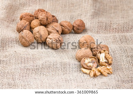Walnut kernels and whole walnuts on rustic sack. - stock photo